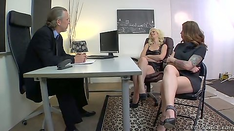 Office three some with Tara Lynn Foxx getting licked