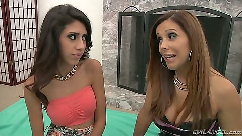 Fully clothed lesbians Francesca Le and Angel Del Rey