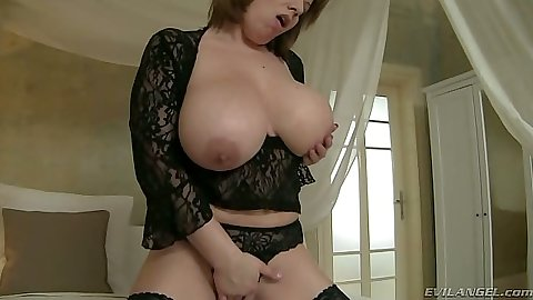 Silvie Wild big tits in lingerie licking own nipples