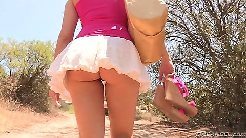 No underwear miniskirt Anikka Albrite and Dana Vespoli outdoors