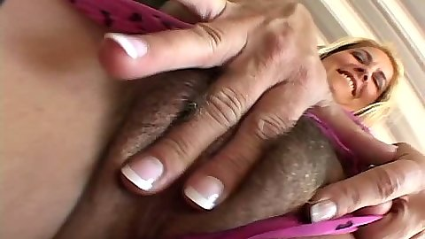 Fingering hair pussy in close up with mom going up her dress