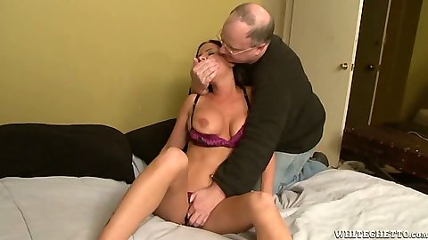 Undressing and touching milf Brandy Aniston with machines sex toy fuck