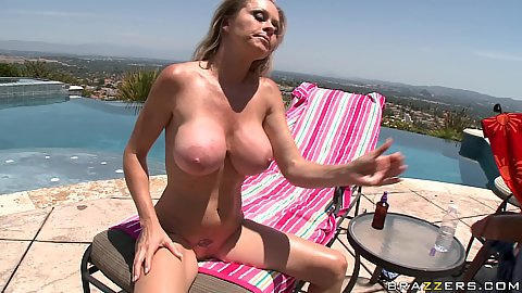 Hot milf sucks and titty fucks cock in the sun