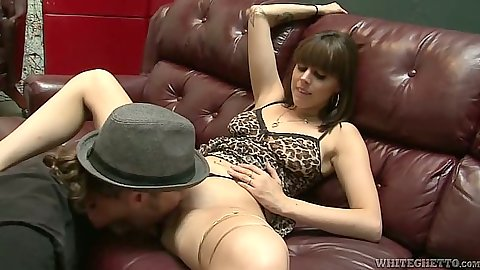 Pussy licking girl Nella Jay on the sofa