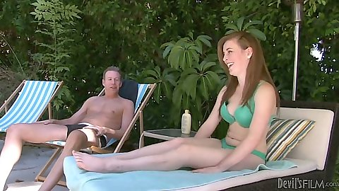 Mattie Borders petite redhead outdoors takes off her bra and makes out