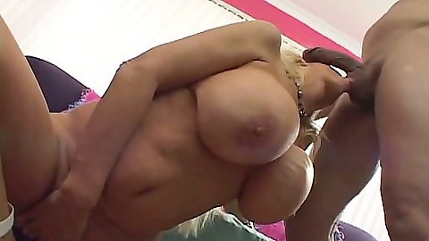 Big tits Tia Gunn sucking dick in close up