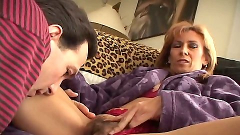 Pulled aside panties hairy pussy licking Mikela Kennedy