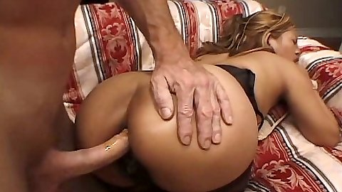Anal entry with Melody Ann in her hairy snatch
