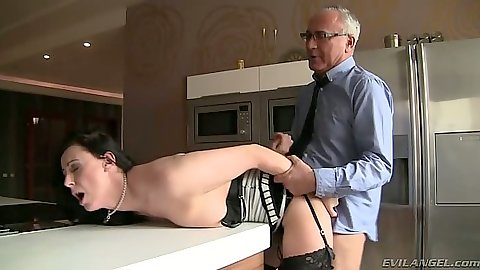 Milf gets rear entry placed on table with Lara Latex