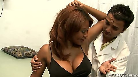 Big tits ebony Kymora Lee visiting the doctor at office