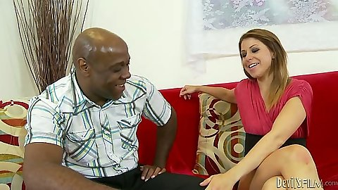 Interracial Mia Gold takes off her skirt and shirt