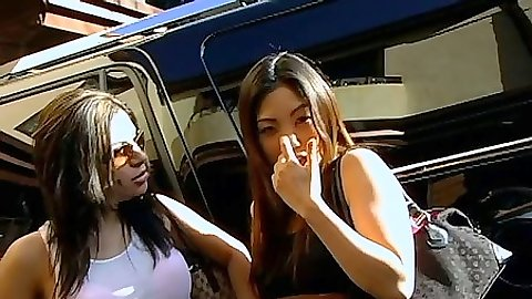Outdoor asian and her latina friend Sativa Rose and Kaiya