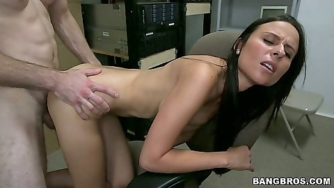Doggy style audition sex with Xiemena Lucero in backroom with boxes