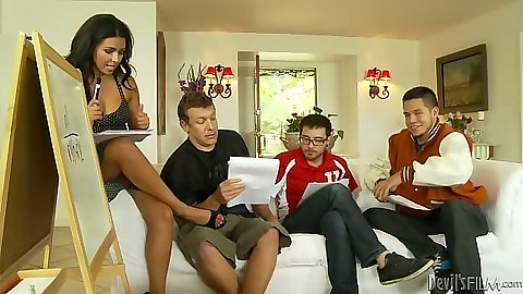 Danica Dillon prepares for undressing and gang bang fuck