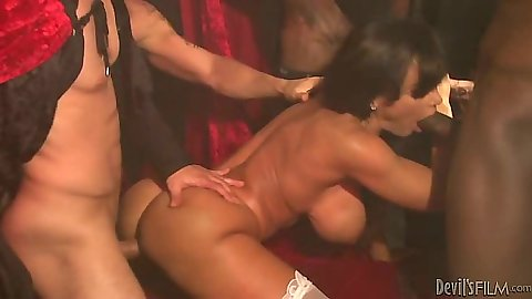Group gang bang for spicy milf Lisa Ann