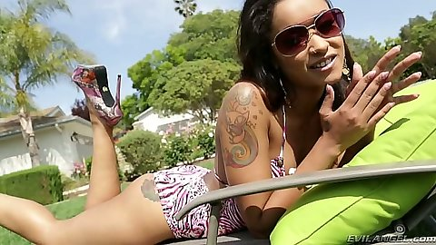 Ebony Skin Diamond solo in cute outfit outdoors
