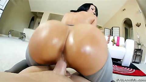 Oil ass Rachel Starr on dick in her ripped pants in pov