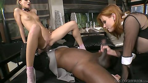 Blowjob and anal gaping fuck with Cayenne Klein and Tara White in interracial 3some
