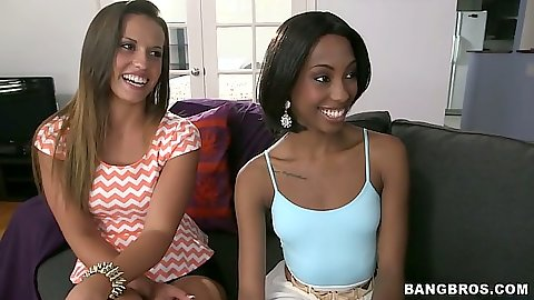 Cute girls Adriana Malao and Kelsi Monroe with Nikki Lavay undressing for lesbian gathering