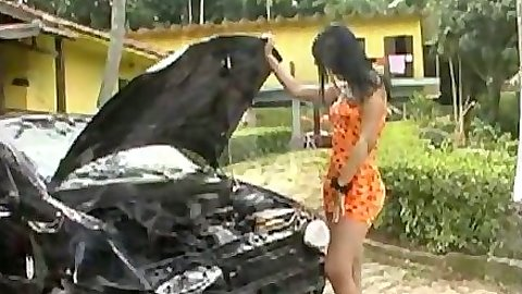 Outdoor Pete and Maylisa tranny loves cars