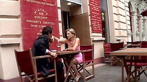 Outdoor in cafe with public Kathy Blanche and ass fingering