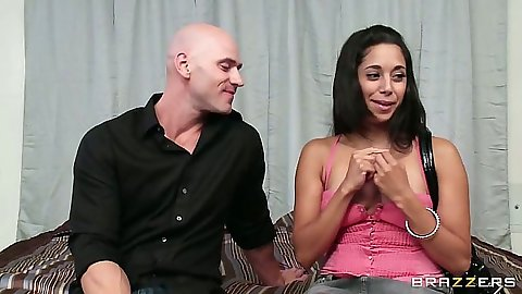 Brunette fully clothed Gia Steel pov blowjob