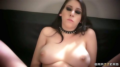 Big tits brunette Luna Kitsuen blowjob and deep throat suck