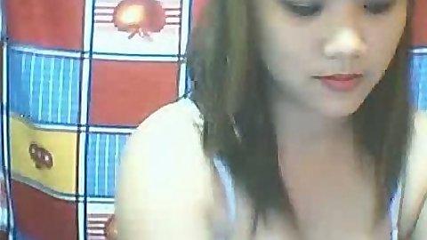 Asian gf amateur sucks finger on webcam