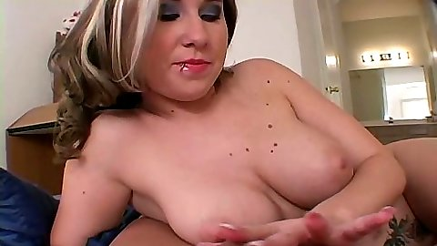 Handjob with busty Kimmy in pov view