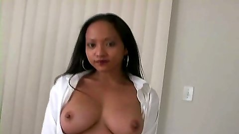 Asian big tits Loni opening her shirt and blowjob