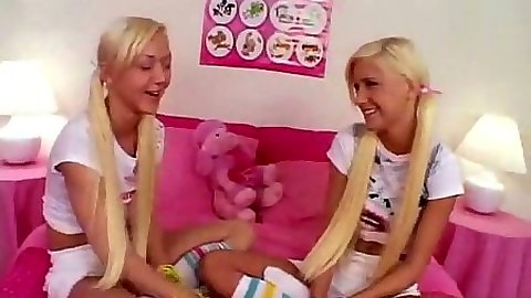 Blonde 18 year old girl playing connect 4 and connect pussy holes