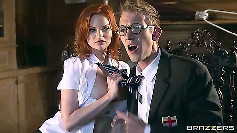 Redhead school girl uniform girl Tarra White doing her extra class