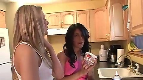 Lesbian girls college fun with whip cream and naked