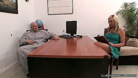 Blonde Skylar Price visits the office to strip and suck dick