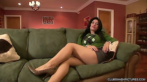 Angelica Raven brunette getting close up anal entry with ass spreading assit
