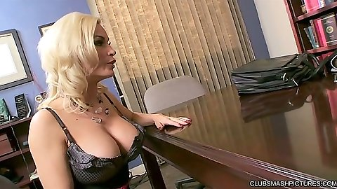Blonde big tits milf Diamond Foxxx office table blowjob