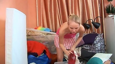Blonde striptease with girl and her dildo sucking Sarah Kimble