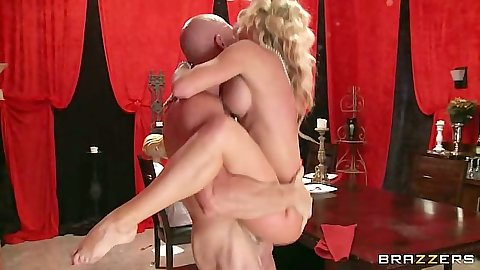 In the air fuck and on the table classy milf action with Cherie Deville