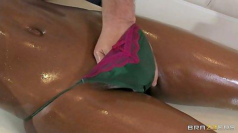 Fingering black girl Jasmine Webb with massage and blowjob