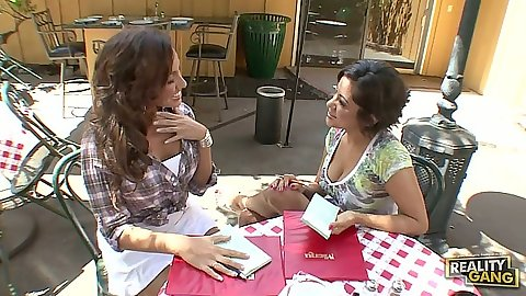 Outdoor milf stripping each other with Adriana DeVille and Vanessa Leon