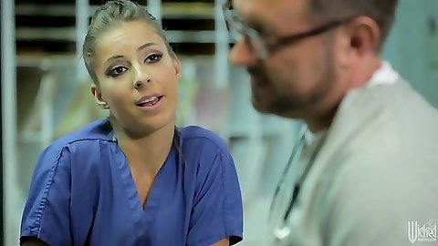 Blonde nurse Presley Hart gets dick sucked with hand in her cunt
