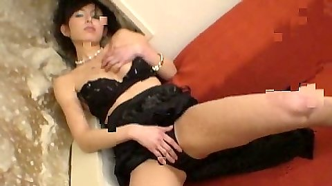 Bras and panties solo asian playing with her body