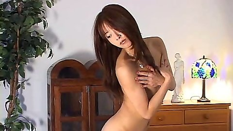 Asian wife posing naked and having dinner with man