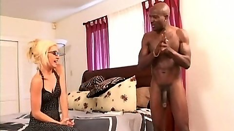 Interracial blonde sucking dick