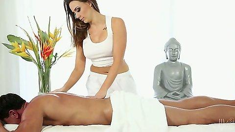 Oil massage with Chanel Preston doing the leg work