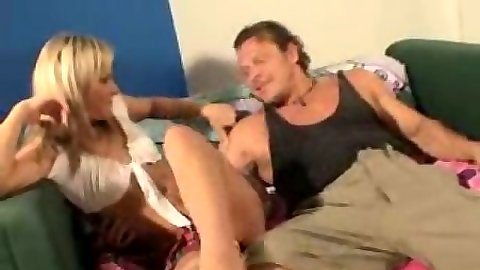Blonde miniskirt school girl hottie Courtney Simpson gets her feet licked