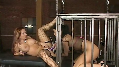 Femdom fetish lesbian dirty sluts in cage eating cunt