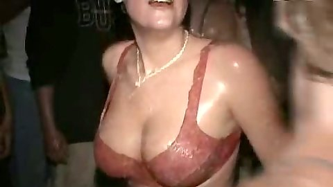 Jello college party with partying coeds getting all wet and wet shirt show