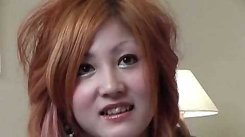 Sexy asian redhead looking girl calling up dude for action