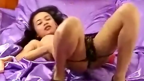Solo asian skinny slut stripping and dildo fucking her own hole